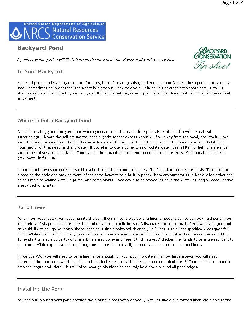 Backyard Conservation Backyard Pond tip sheet