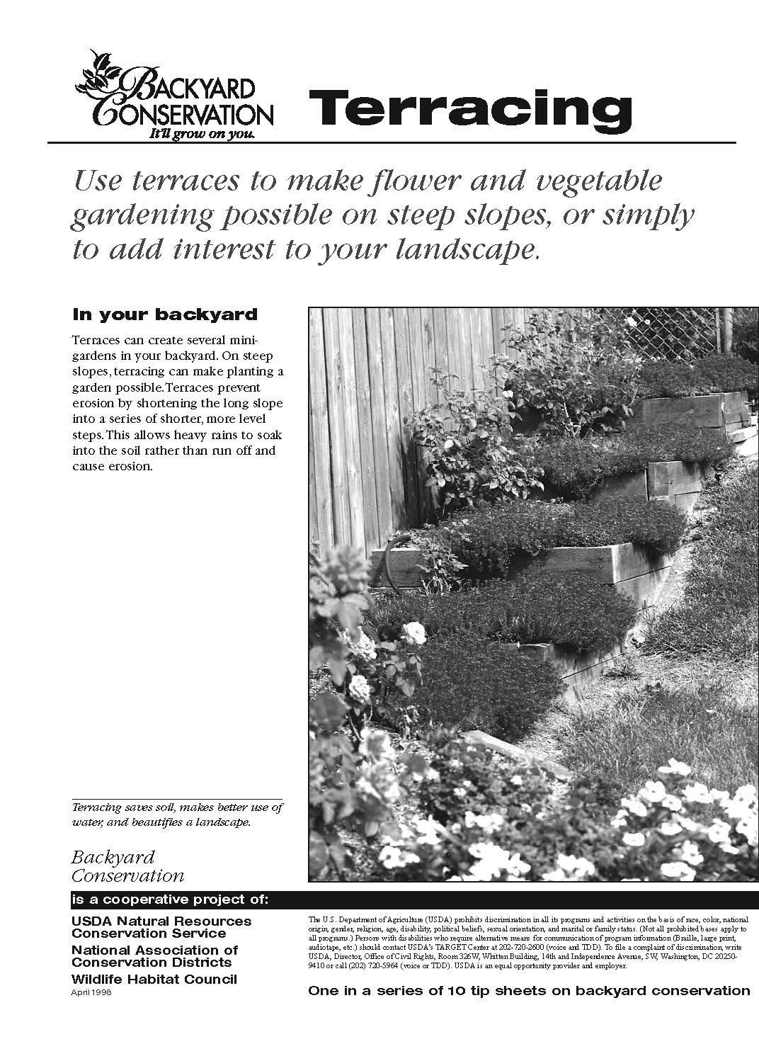 Backyard Conservation Terracing tip sheet