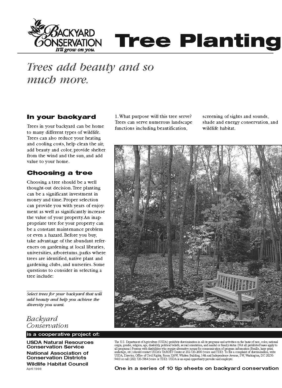 Backyard Conservation Tree Planting tip sheet